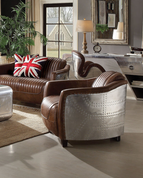 Brancaster Retro Brown Top Grain Leather & Aluminum Chair image