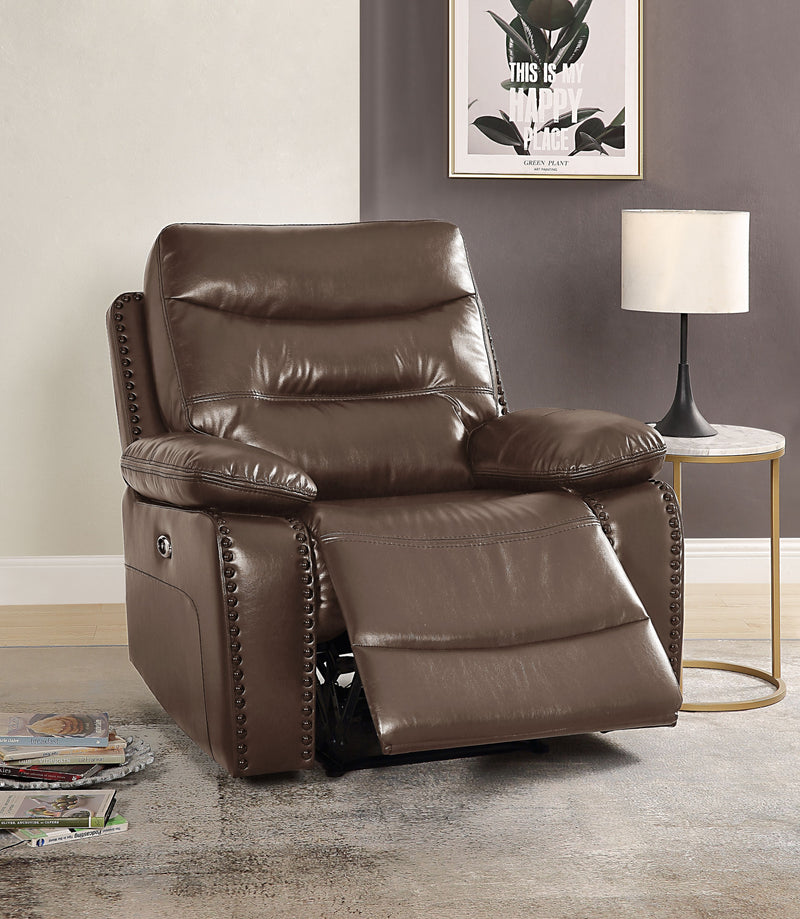 Aashi Brown Leather-Gel Match Recliner (Power Motion) image