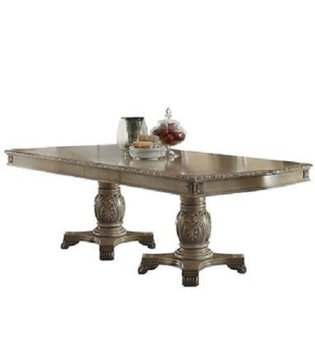 Acme Chateau de Ville Double Pedestal Dining Table in Antique White 64065 image