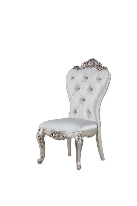 Gorsedd Cream Fabric & Antique White Side Chair image