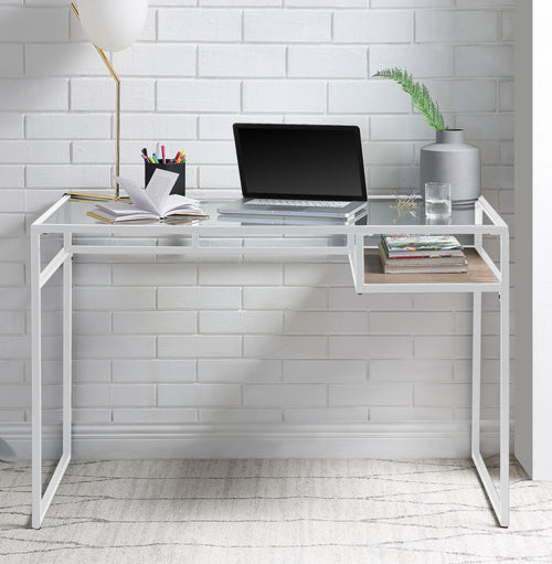 Yasin White & Glass Desk image