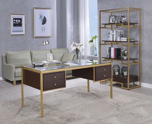 Yumia Gold & Clear Glass Desk image