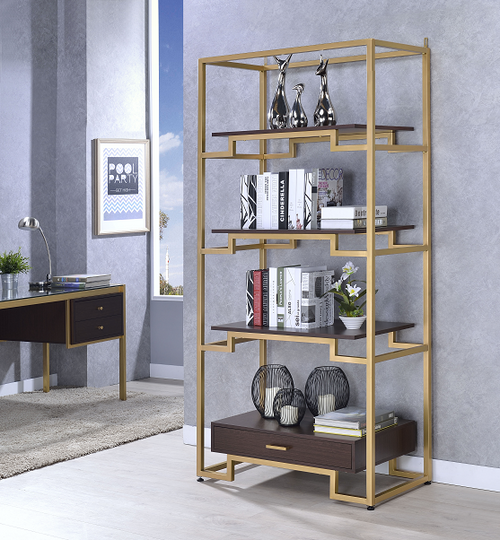 Yumia Gold & Clear Glass Bookshelf image