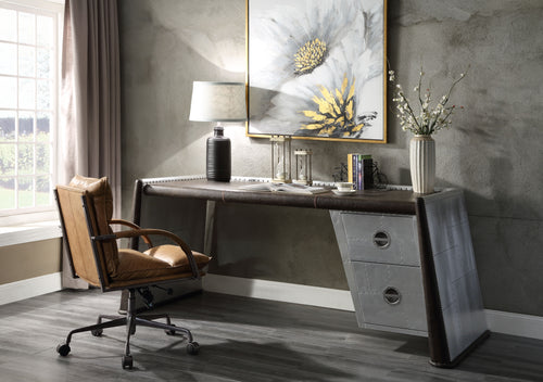 Brancaster Distress Chocolate Top Grain Leather & Aluminum Desk image