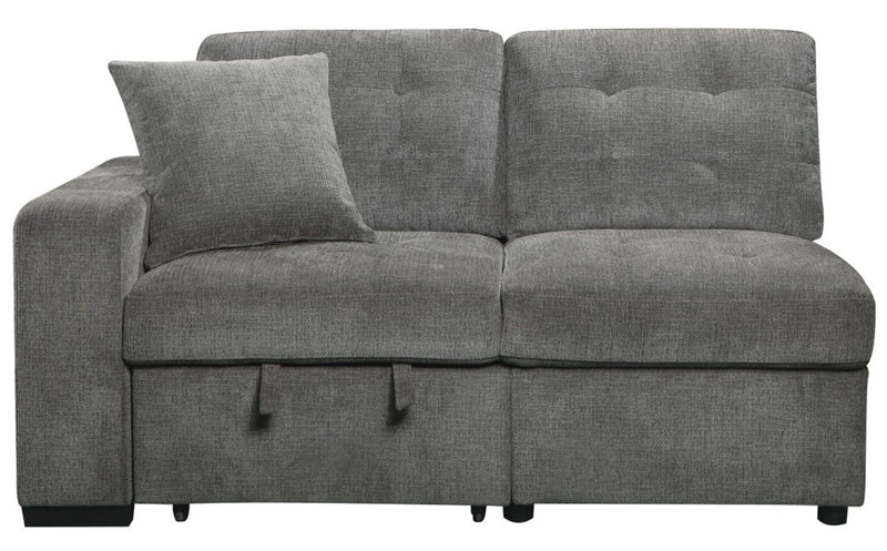 Homelegance Furniture Logansport Left Side 2-Seater with Pull-out Ottoman and 1 Pillow in Gray 9401GRY-2L image