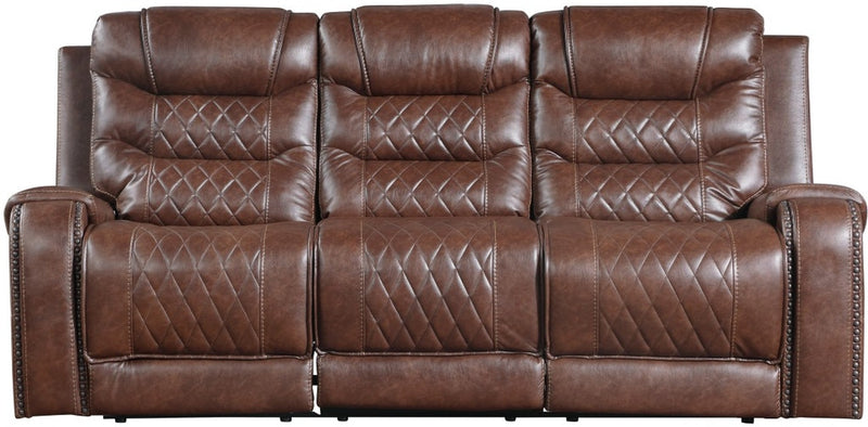 Homelegance Furniture Putnam Power Double Reclining Sofa with Drop-Down in Brown 9405BR-3PW image