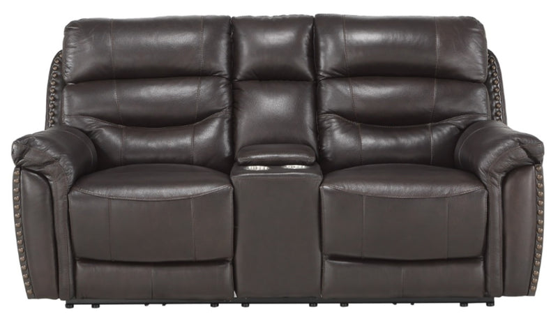 Homelegance Furniture Lance Power Double Reclining Loveseat with Power Headrests in Brown 9527BRW-2PWH image