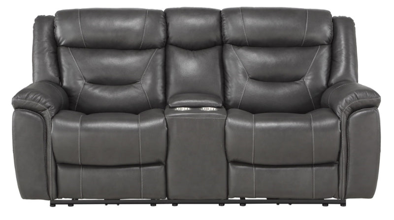 Homelegance Furniture Danio Power Double Reclining Loveseat with Power Headrests in Dark Gray 9528DGY-2PWH image