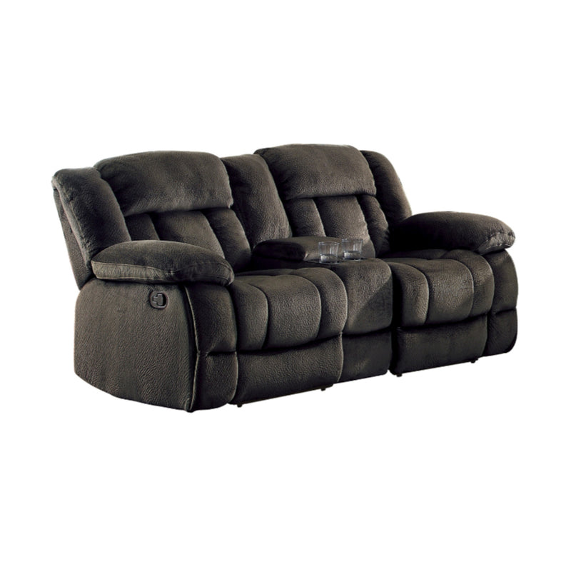 Homelegance Furniture Laurelton Double Glider Reclining Loveseat w/ Center Console in Chocolate 9636-2 image
