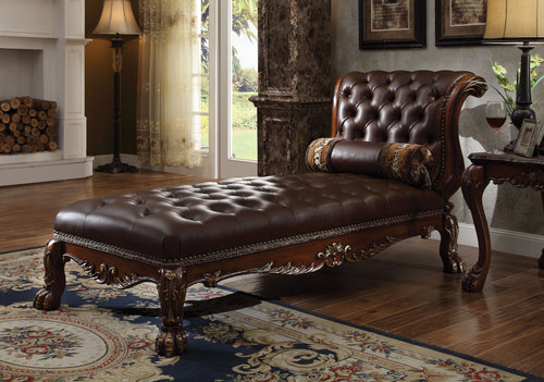 Dresden PU & Cherry Oak Chaise & Pillow image