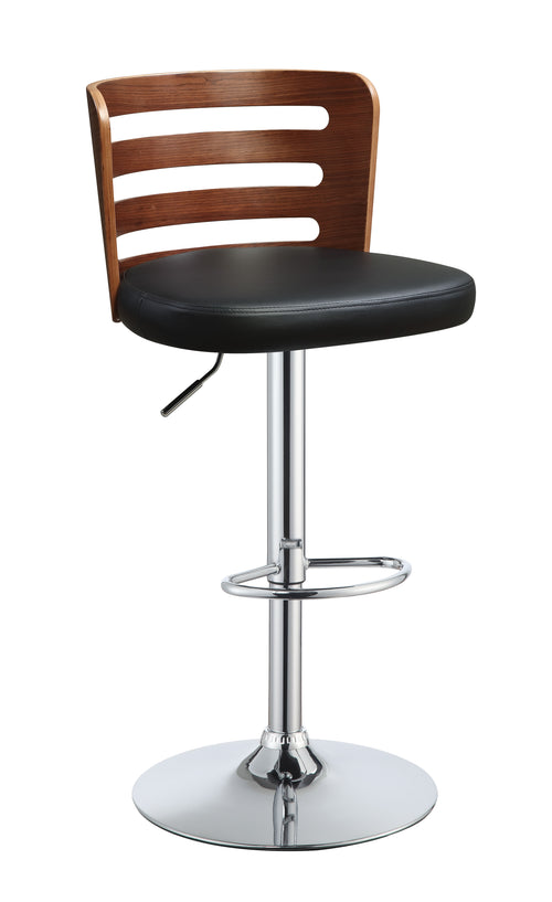 Camila Black PU & Walnut Adjustable Stool (1Pc) image