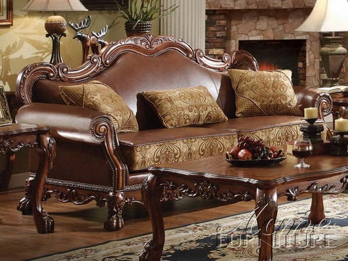 Dresden Brown PU & Chenille, Cherry Oak Sofa w/3 Pillows image