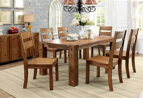 FRONTIER Dark Oak, Beige 7 Pc. Dining Table Set image
