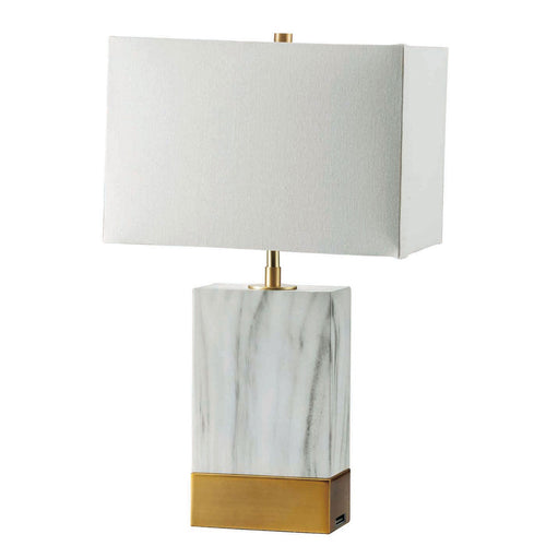 "Faith White Marble/Gold 20""H White Marble Gold Table Lamp image"