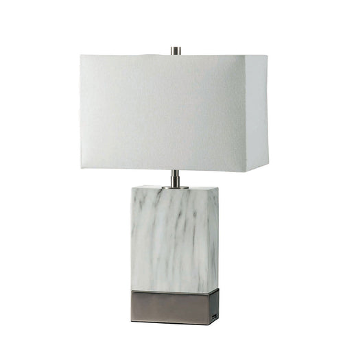 "Faith White Marble/Silver 20""H White Marble Steel Table Lamp image"