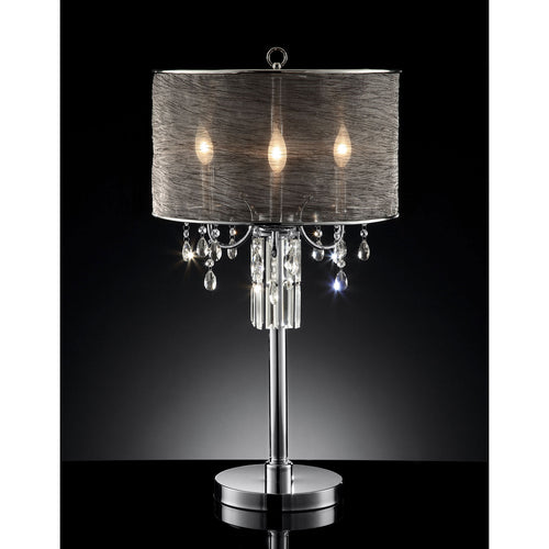 Gina Black/Silver Table Lamp, Hanging Crystal image