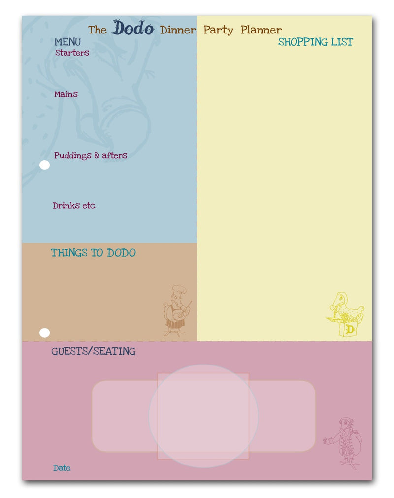 The Dodo Dinner Party Planner (B5 Meal/Shopping List Pad)