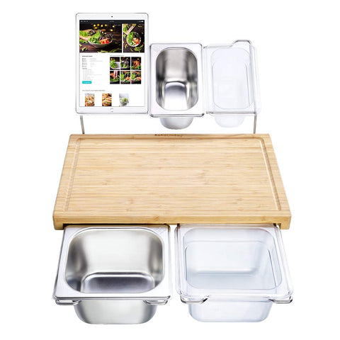 Bamboo Cutting Board Set With 4 Containers - Kitchen Tribe Marketplace