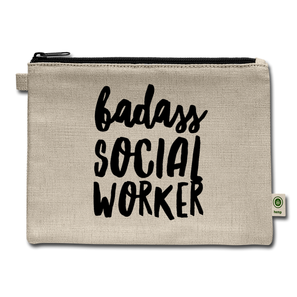 badass Social Worker hemp eco pouch 7x9 - natural