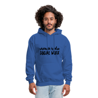 Research is also Social Work:  Men's-Cut Unisex Hoodie - royal blue