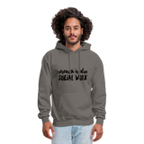 Research is also Social Work:  Men's-Cut Unisex Hoodie - asphalt gray