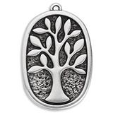 Pendant oval - tree 32 x 49mm