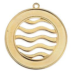 Round motif with waves pendant 42,9 x 44,6mm
