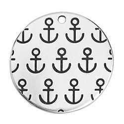 Disc with anchors pendant 29,6 x 29,6mm