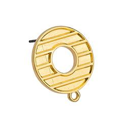 Stripy circle earring 18mm with 1 ring with titani - 18 x 21.3mm