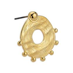 Ethnic earring with big grains with titanium pin 24x24.4mm