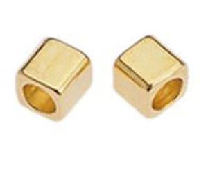 Brass cube bead diam. 1,3mm2x2mm