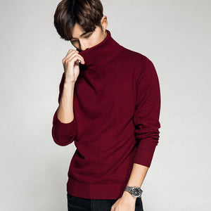 MRMT 2020 Brand New Men's Sweater Cotton Thin Slim Fashion Turtleneck Sweater Pullover for Male Tops Casual Solid Color Sweater