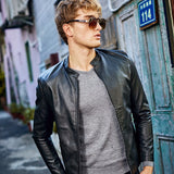 MRMT 2020 Brand Men's Jackets Thin Collar Solid Color PU Leather Overcoat for Male Youth Jacket Outer Wear Clothing Garment