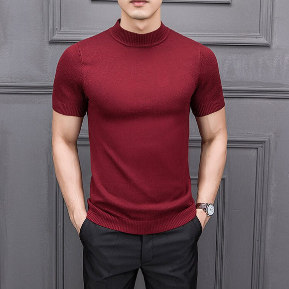 MRMT 2020 Brand New Autumn Men's T Shirtpure Color Semi-high Collar Knitting  for Male Half-sleeved Sweater Tops