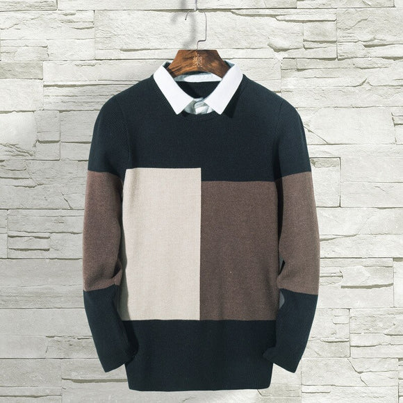 MRMT 2020 Brand Autumn Winter New Men's Sweaters Fashion Fake Two Knitted Sweaters Pullover for Male Youth Leisure Sweaters