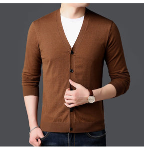 MRMT 2020 Brand Spring Autumn Men's Knitted Sweaters  Overcoat for Male Thin Solid-color Fashion Long-sleeved Sweaters Jackets
