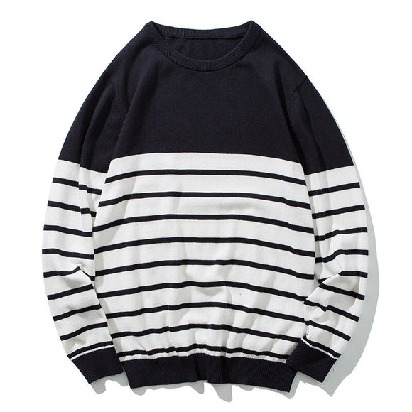MRMT 2020 Brand Men's Knit Sweater Round Neck Slim Thick Stripe for Male Teen Knit Sweater