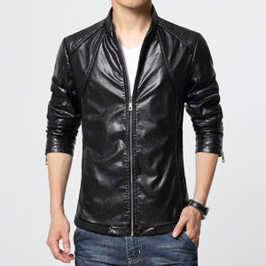 MRMT 2020 Brand New Spring and Autumn Men's Jackets Washed PU Leather Jacket  Collar for Male Casual Leather Jacket Coat