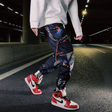Camouflage Patchwork Side Pocket Cargo Harem Pants Mens Casual Jogger Streetwear Hip Hop Streetwear Trousers Male