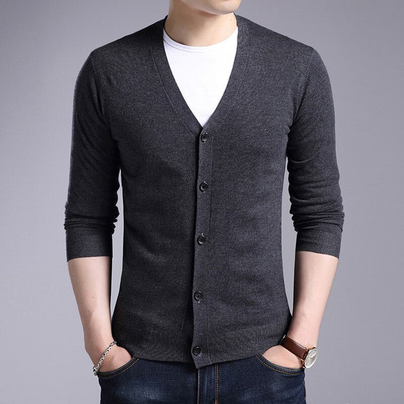 MRMT 2020 New Men's Sweater Cardigan V-neck Casual Wild for Male Self-cultivation Solid Color Sweater Fashion Clothing