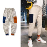 Men Hip Hop Belt Cargo Pants 2020 Man Patchwork Overalls Japanese Streetwear Joggers Pants Men Designer Harem Pants