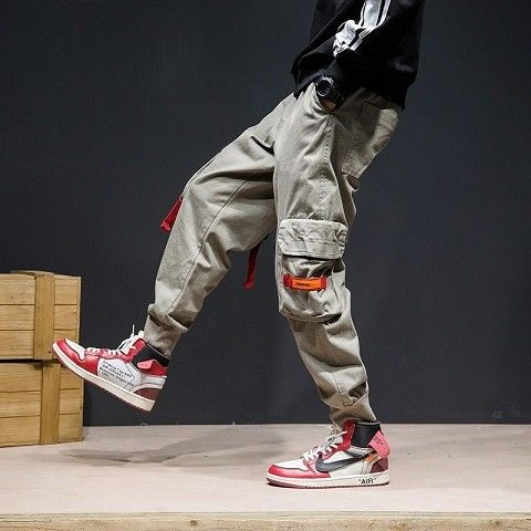 Camouflage Patchwork Side Pocket Cargo Harem Pants Mens Casual Jogger Streetwear Hip Hop 2020 Streetwear Trousers Male