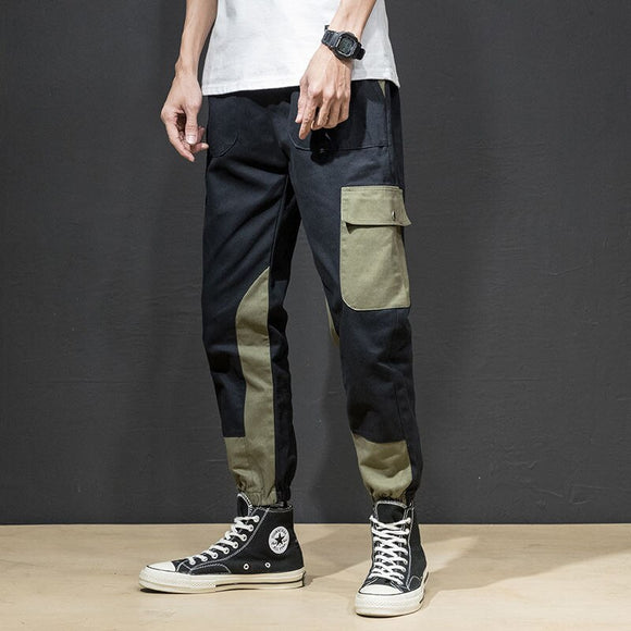 2020 Patchwork Pockets Cargo Harem Pants Mens Hip Hop Casual Jogger Tatical Trousers Harajuku Streetwear Male Pants
