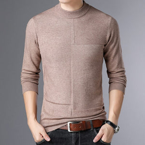 MRMT 2020 Brand New Autumn Winter Men's Sweater Thickening Warm Pullover for Male Pure Color Semi-turtleneck Knitting Sweater