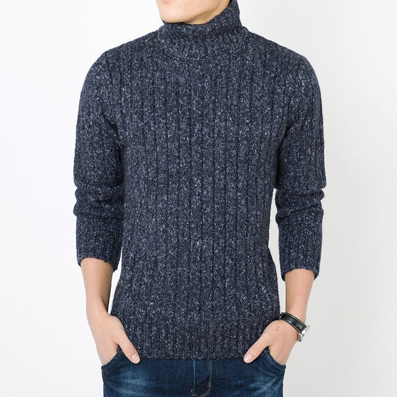 MRMT 2020 Brand New Men's Sweater Thickened Turtleneck  Pure Color Leisure Sweater for Male Self-cultivation Wool Knitwear