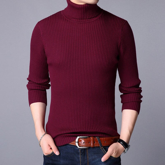 MRMT 2020 Brand Fall  Winter Men's Knitted Sweater Young High-collar Knitted Bottom Shirt for Male Pure-color Sweater Clothing
