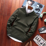 MRMT 2020 Brand Winter New Men's Sweater Solid Color Pullover for Male Sweater Casual V Tie Buttons Fashion Sweater