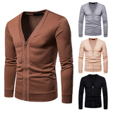 MRMT 2020 Brand New Men's Jackets Sweater Large-size Zipper for Male V-neck Knitted Sweater Jacket Clothing