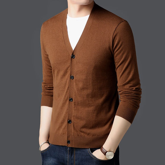 MRMT 2020 Brand Spring and Autumn Men's Sweater V-neck Knit Cardigan for Male Thin Solid Color Long Sleeve Slim Sweater Jacket