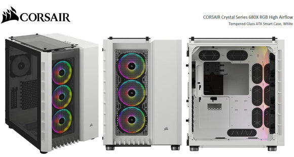 Corsair Crystal Series 680X RGB ATX High Airflow, USB 3.1 Type-C, Tempered Glass, Dual Chamber Cube Case, PCI Expansion Slots 8+2,  White.